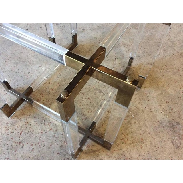 Charles Hollis Jones Charles Hollis Jones Vintage CHJ Lucite & Brass Metric Dining Table Base For Sale - Image 4 of 11
