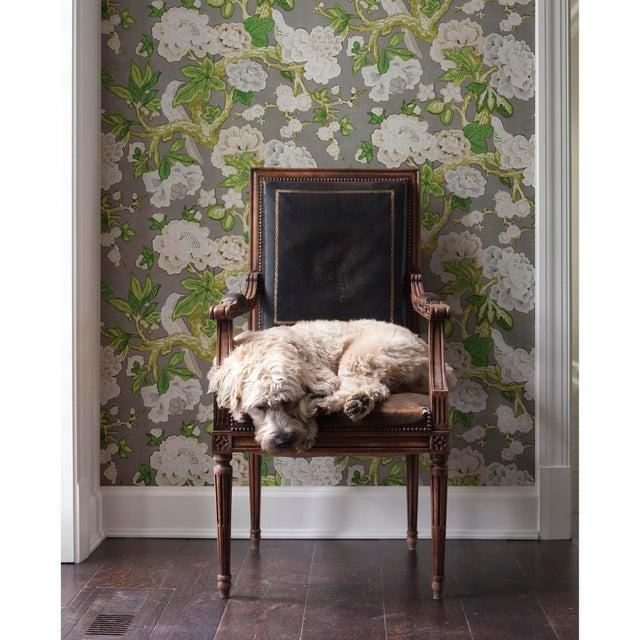 2010s Schumacher x Mary McDonald Bermuda Blossoms Wallpaper in Aqua , Sample For Sale - Image 5 of 6