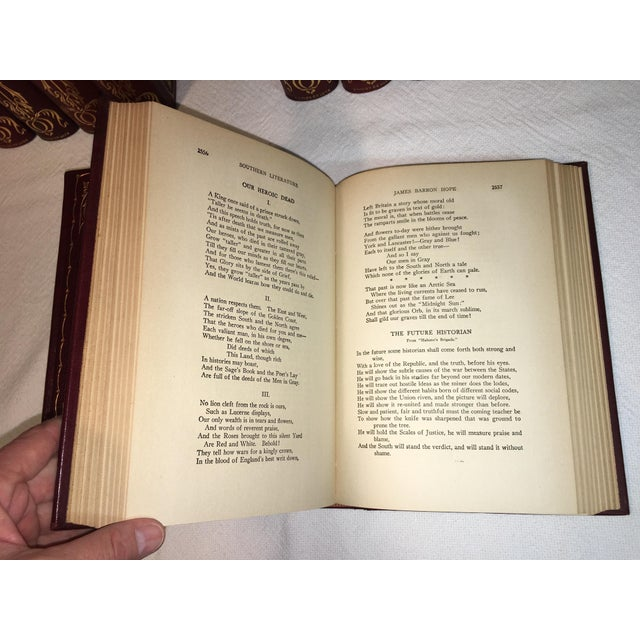 Antique Red Leather Library of Southern Literature Books - Set of 17 For Sale - Image 10 of 11