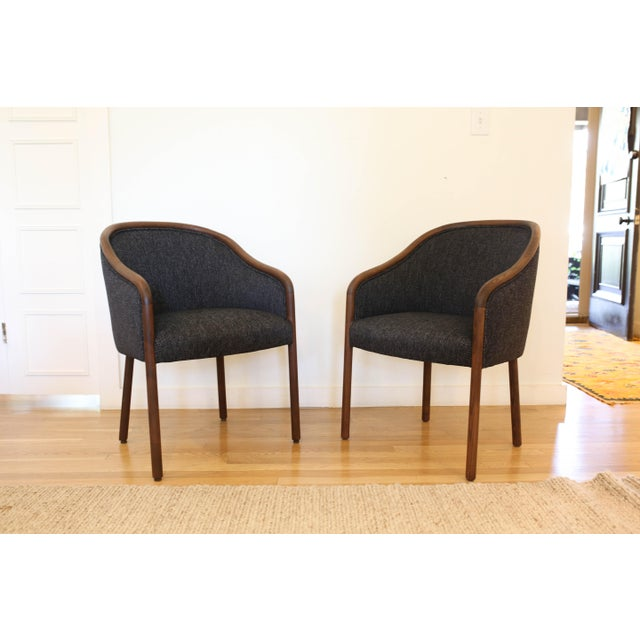 These 1960's upholstered club chairs were designed by Ward Bennett for Brickell. They have Bauhaus style Armes, flared...