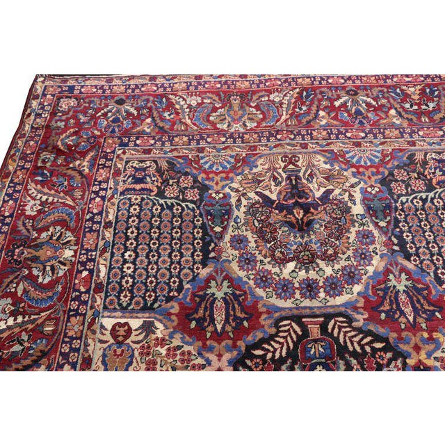 Textile Oversize Antique Persian Yazd with Garden Design in Jewel-Tone Colors For Sale - Image 7 of 10
