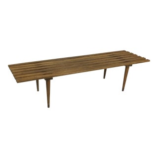 1960s Vintage Walnut Bench / Coffee Table For Sale