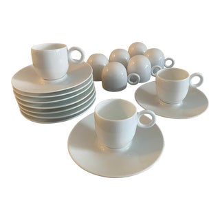 Bernardaud Salsa Limoges Espresso / Demitasse Cups & Saucers - 9 Pairs For Sale