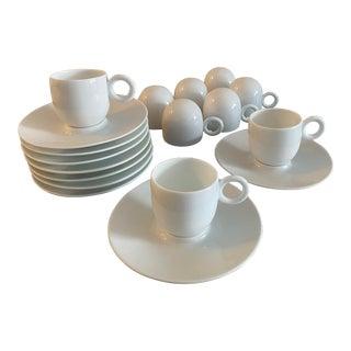 Bernardaud Salsa Limoges Espresso / Demitasse Cups & Saucers - Service for 9 For Sale