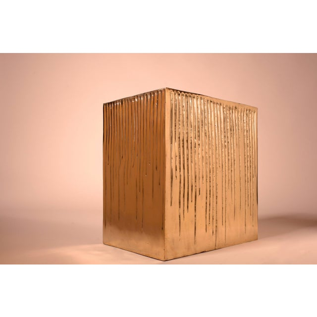 2010s Hand Casted Polished Bronze Box Stool For Sale - Image 5 of 10