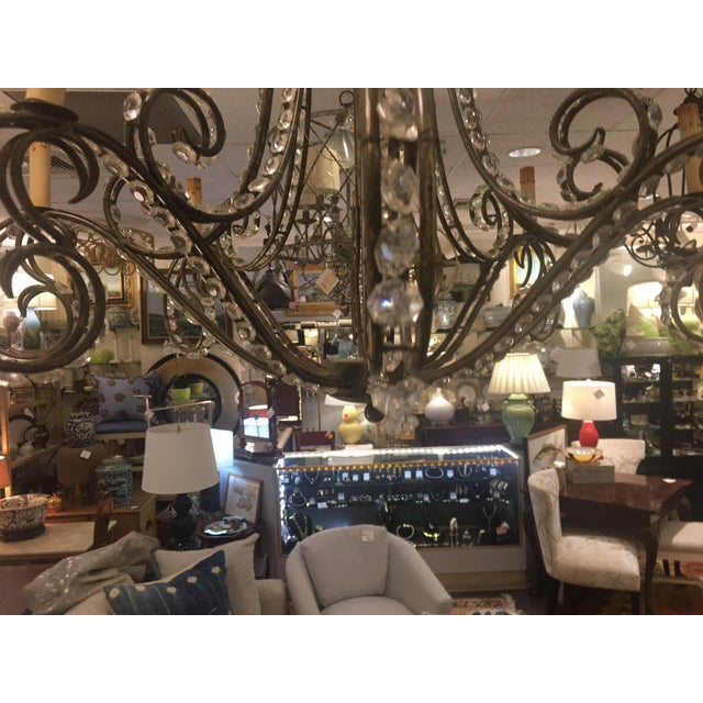 Eight Light Wrought Iron and Crystal Chandelier For Sale In New York - Image 6 of 7