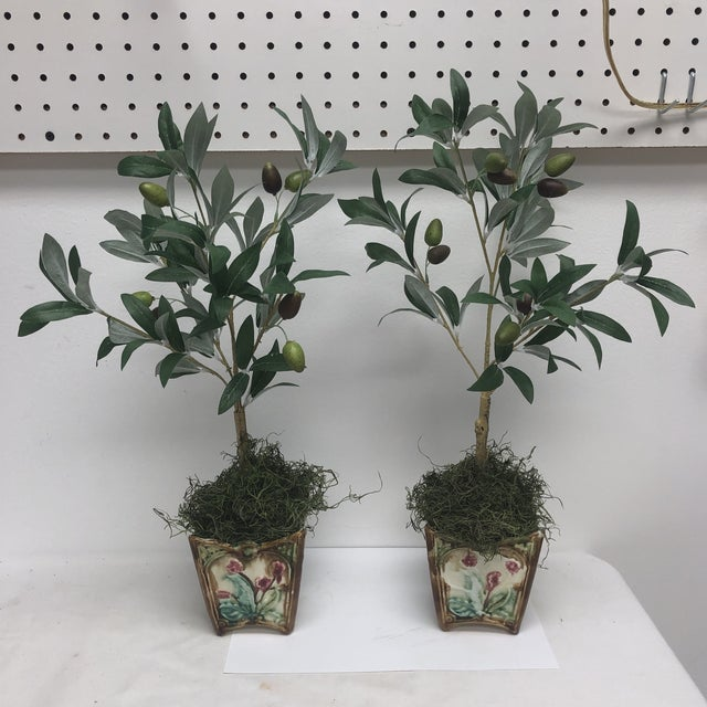 Majolica French Majolica Olive Tree Cachepots - a Pair For Sale - Image 4 of 4