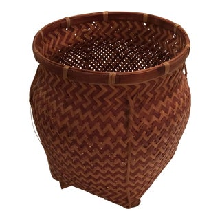 Polynesian Style Warm Harvesting Basket For Sale