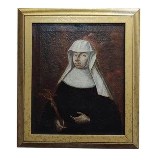 "17th Century Italian Old Master ""Nun"" Portrait Oil Painting For Sale"