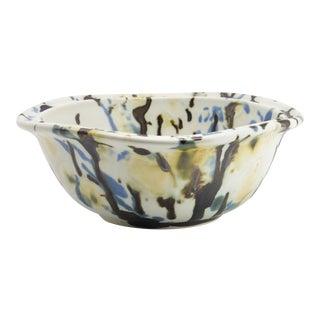 New Porcelain Japanese Studio Artist Sturdy Square Bowl With Metallic Bronze Slip For Sale