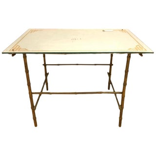 Hollywood Regency Bronze Based Eglomise Top Coffee Table For Sale