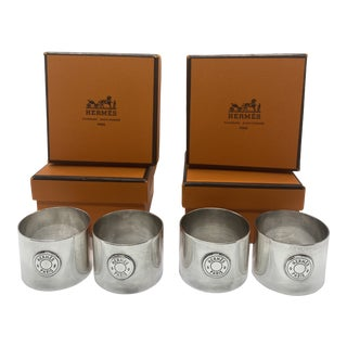 Hermes Sterling Silver Napkin Rings - Set of 4 For Sale