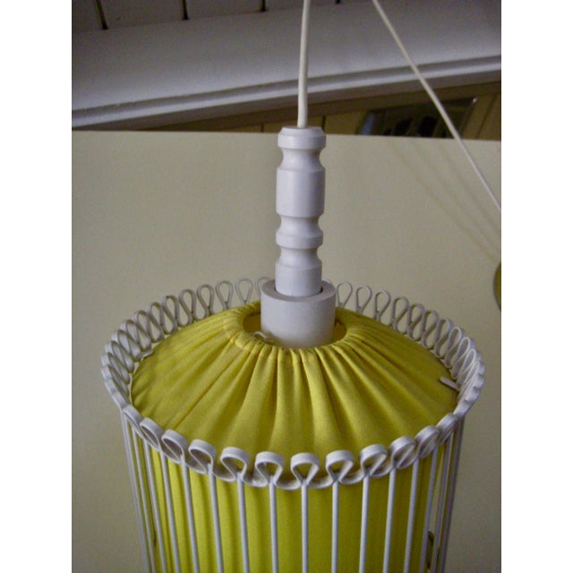 Metal Mid-Century Modern White and Yellow Iron Chandelier For Sale - Image 7 of 11