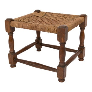 Early English Oak and Cording Footstool For Sale