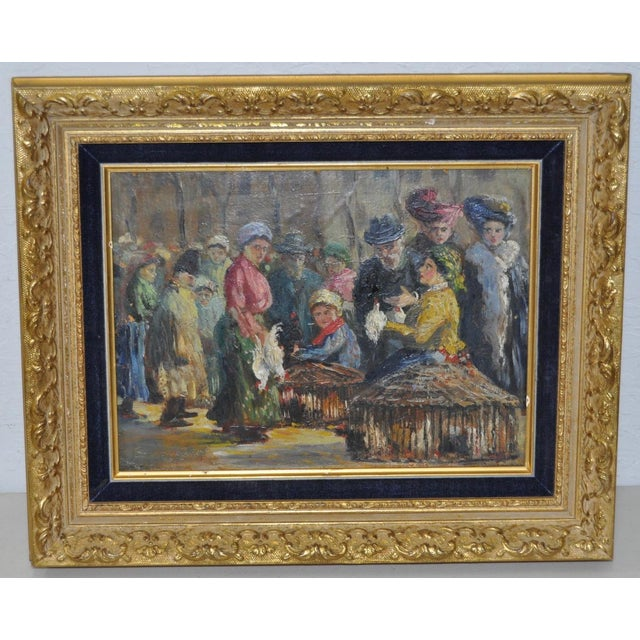 Impressionist European Market Scene Oil Painting - Image 3 of 9