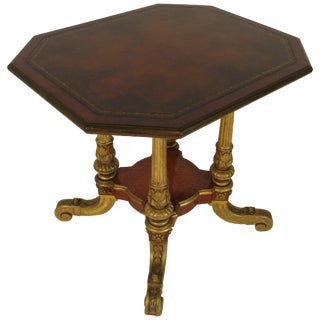 1880s French Gilt Carved Wood Table With Leather Top For Sale