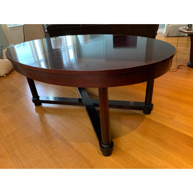 Hollywood Regency Round Baker Dining Table Barbara Barry Baker for Mahogany Ambassador Round or Oval Dining Table For Sale - Image 3 of 13