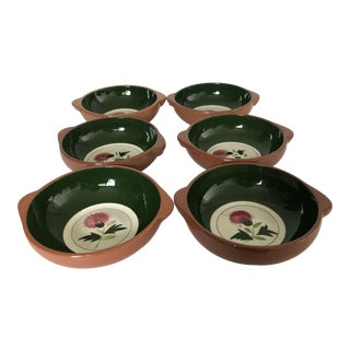 """Midcentury Stangl Pottery """"Thistle"""" Set of 6 Soup Bowls For Sale"""