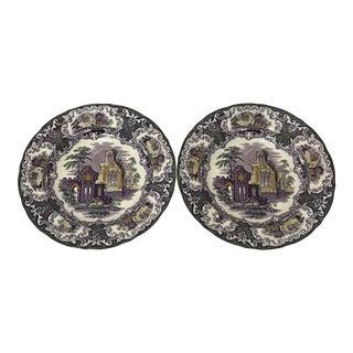 "Petros Regout & Co. Maastricht ""Abbey"" Purple Transferware Plates- a Pair For Sale"