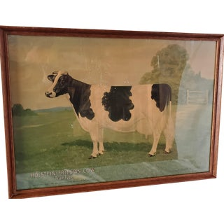 Arts and Crafts Holstein Friesian Cow Vintage Farm Advertisement Print - Framed For Sale