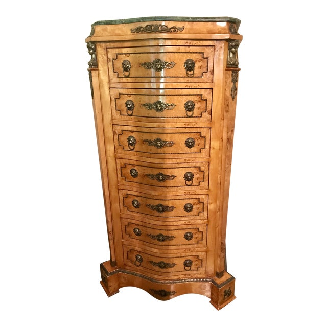 Louis XVI Burlwood & Green Marble Top Chest of Drawers For Sale