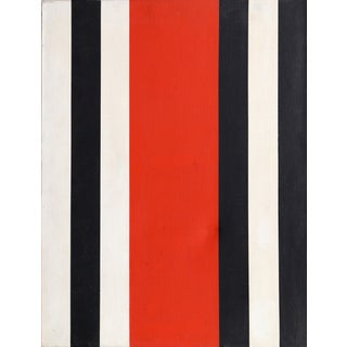 """Warner Friedman, """"Red Black and White Stripes"""", Minimalist Oil Painting For Sale"""