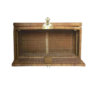 "Mid Century Modern Rattan Trunk Blanket Chest Brass Hardware 36"" For Sale"