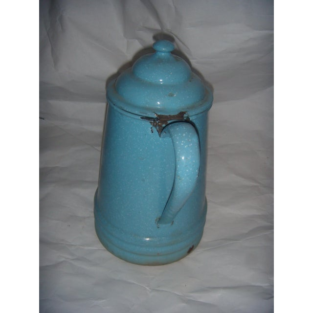 Rustic Country Blue Enamel Pitcher - Image 5 of 5