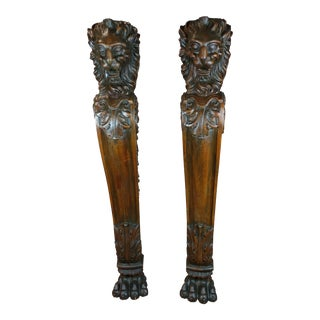 19th c massive Architectural carved Lion head wall columns-A pair