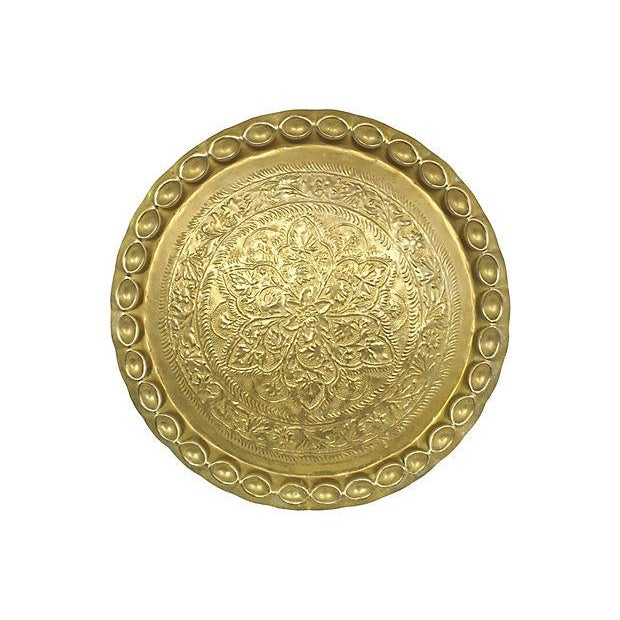 Mid-Century Moroccan Brass Tray For Sale - Image 5 of 5