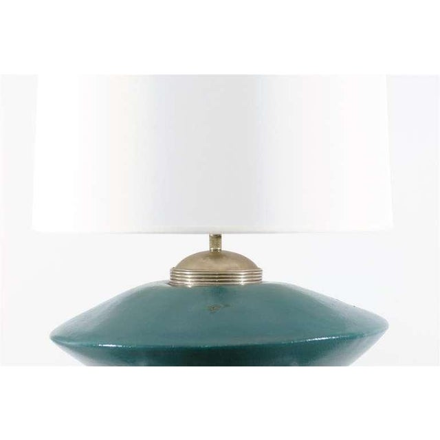 Ceramic Stunning Pair of Turquoise Ceramic and Silver Lamps by Orno For Sale - Image 7 of 10