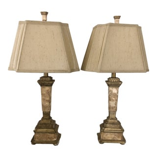 John Richard Capant Table Lamps with Shades - a Pair For Sale