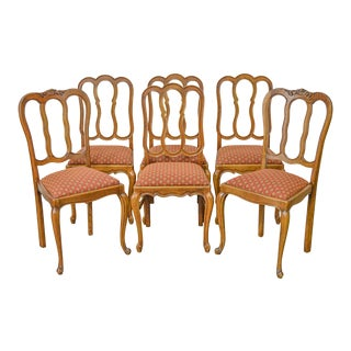 French Country Set of 6 Antique Solid Oak Dining Chairs