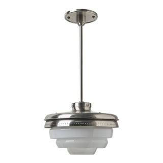r.w. Atlas Ceiling Mounted Pendant With Glass Shades in Burnished Nickel For Sale