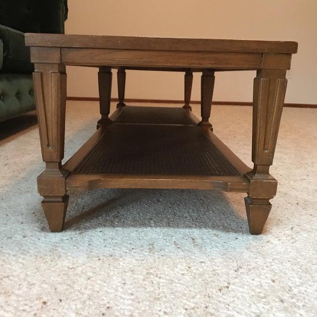 Lane Burl Wood Coffee Table: Vintage Lane Caned Shelf Coffee Table