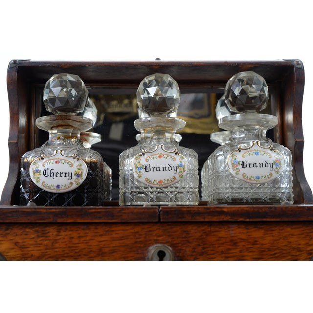 19th C Antique Captain Oak Tantalus & 3 Decanters - Image 4 of 9