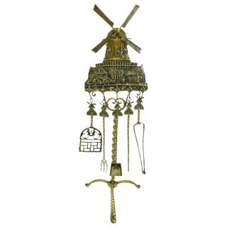 Polished Brass Windmill Design Set of Five Fireplace Tools, 19th Century For Sale