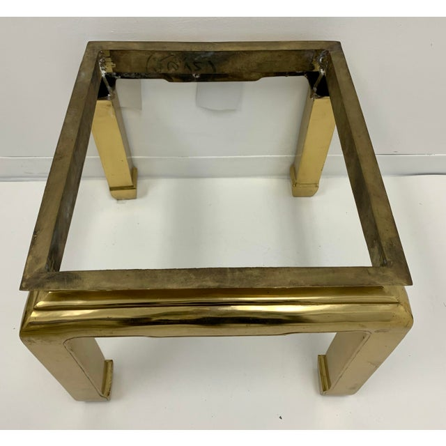 Mastercraft Heavy Casted Brass & Marble Asian Style Table Att. Mastercraft For Sale - Image 4 of 7