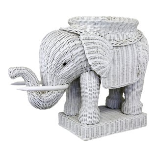White Wicker Elephant Side Table