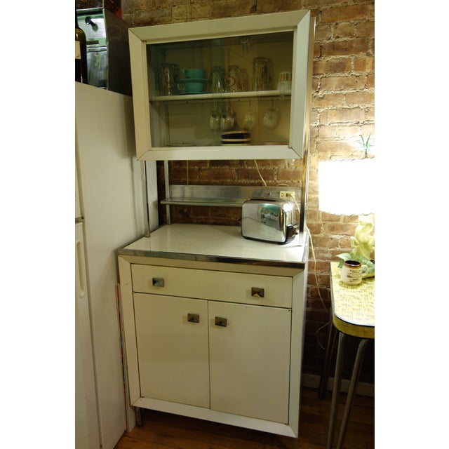 Vintage Kitchen 1950s Atomic Mid Century Modern White Metal Hutch Cabinet Chairish