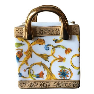 Small Vintage Gold Floral Porcelain Shopping Bag
