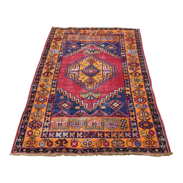 Antique Nomadic Hand-Knotted Anatolian Carpet - 3′10″ × 5′9″ For Sale