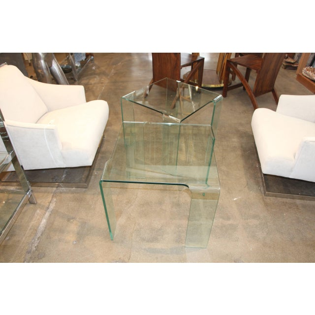 1980s 1980s Italian Glass Tables Attributed to Fiam - a Pair For Sale - Image 5 of 7