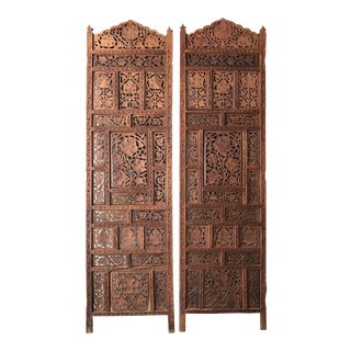 Moroccan Hand Carved Wood Panels