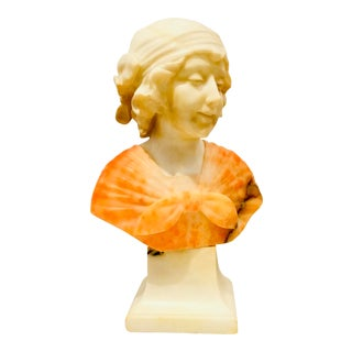 Late 1800's Alabaster Bust of a Lady Sculpture For Sale