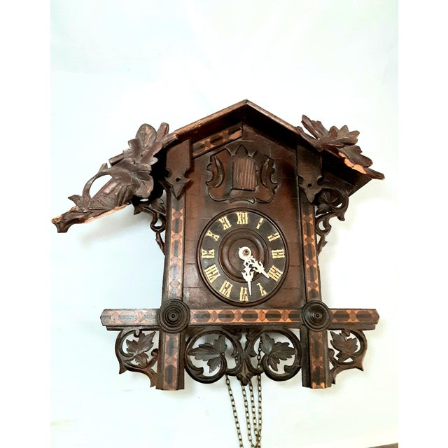 Early 20th Century Black Forest Carved Cuckoo Clock For Sale - Image 11 of 11