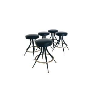 Set of 5 Mid Century Black and Chrome Counter Stools For Sale