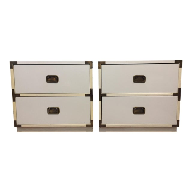 20th Century Campaign Brass Detailed Nightstands - a Pair For Sale