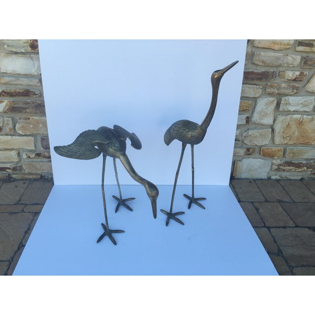 Mid Century Large Brass Cranes - Pair - Image 2 of 4