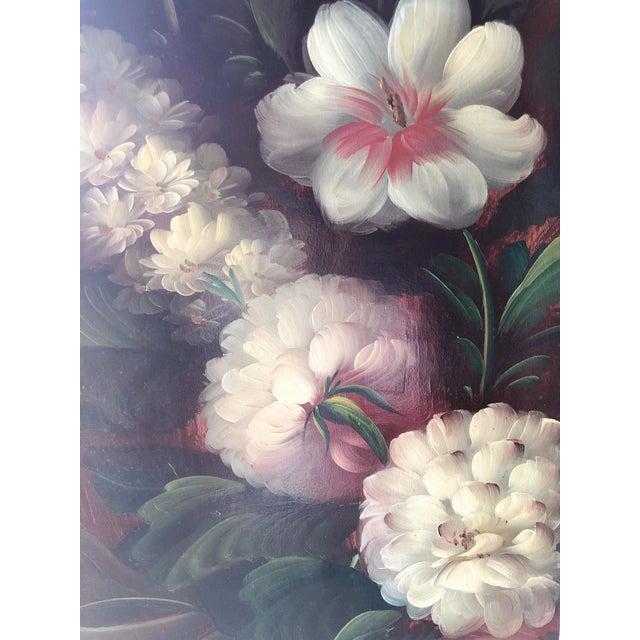 Animal Skin Antique Handpainted Floral Wood Room Divider For Sale - Image 7 of 9